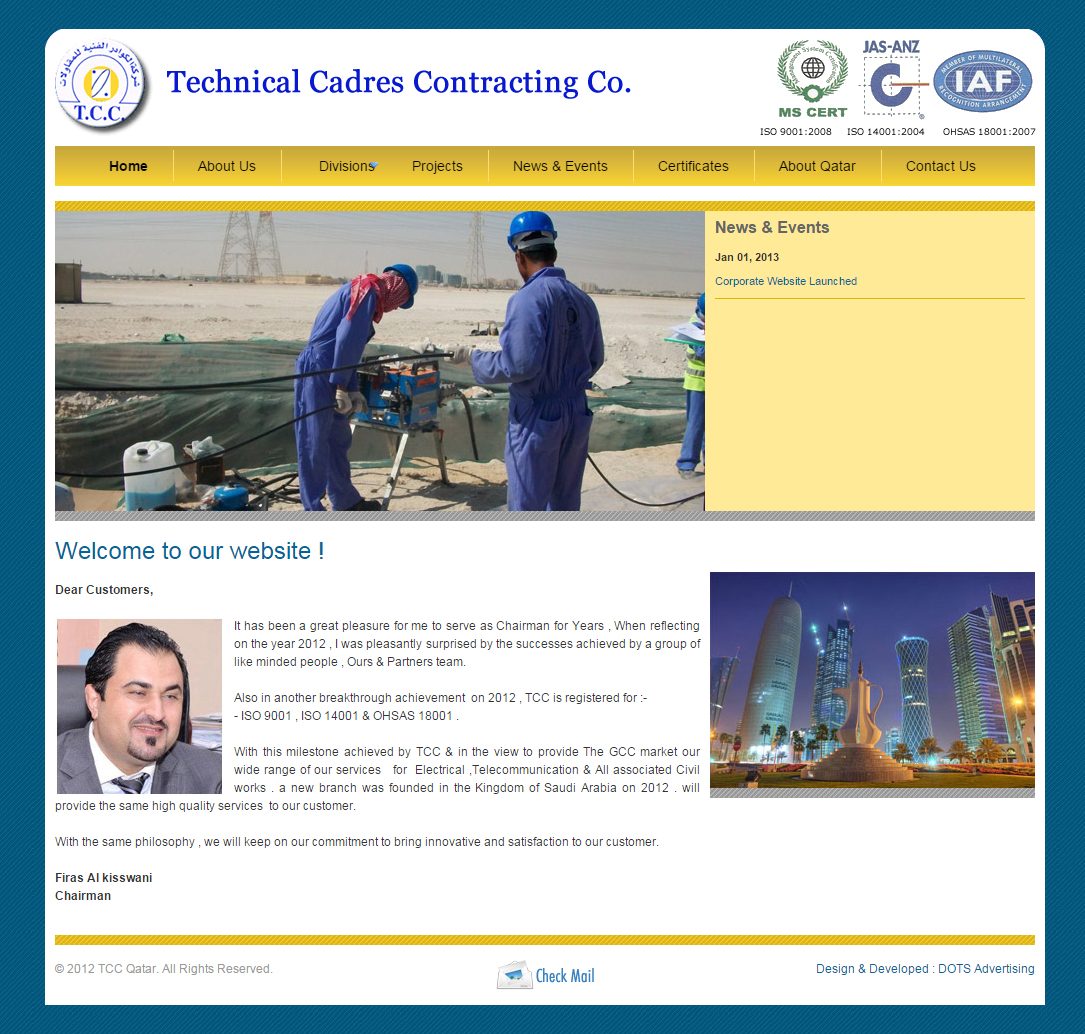 Technical Cadres Contracting Company (TCC) | Home | website